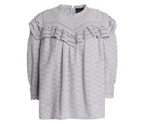 Ruffled Broderie Anglaise Cotton Blouse