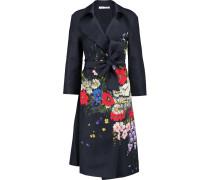 Floral-print Silk-twill Trench Coat Mitternachtsblau