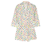 Louise Printed Cotton-poplin Robe Creme