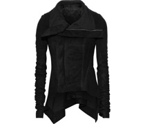 Naska Ribbed Knit-paneled Coated Leather Biker Jacket