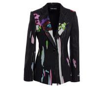 Striped Mulberry Silk-jacquard Blazer