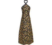Josie Metallic Leopard-jacquard Halterneck Midi Dress