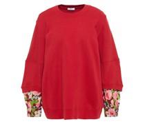 Sweatshirt aus Baumwollftee mit Oxfordeinsatz und Floralem Print