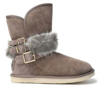 Hatchet faux fur-trimmed buckled shearling boots