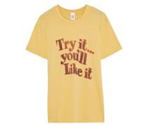 70s Bedrucktes T-shirt aus Baumwoll-jersey mit Flammgarneffekt