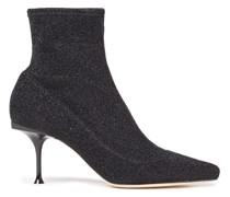 Metallic Stretch-knit Sock Boots