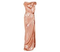 Draped Silk-blend Lamé Gown