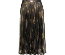 Pleated Metallic Printed Silk-blend Midi Skirt Mehrfarbig