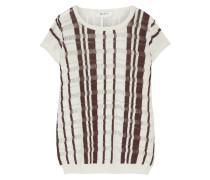 Zemmour Paneled Linen And Cotton-blend Sweater Creme