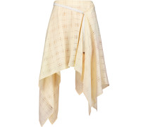 Asymmetric Perforated Wool-blend Midi Skirt Creme