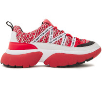 Woman Grosgrain And Leather-trimmed Tweed Sneakers Red