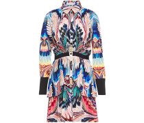 Tiered Printed Silk Crepe De Chine Mini Shirt Dress