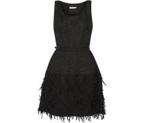 Fringed Silk-blend Cloqué Mini Dress Schwarz