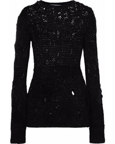 Distressed Open-knit Wool-blend Sweater Black