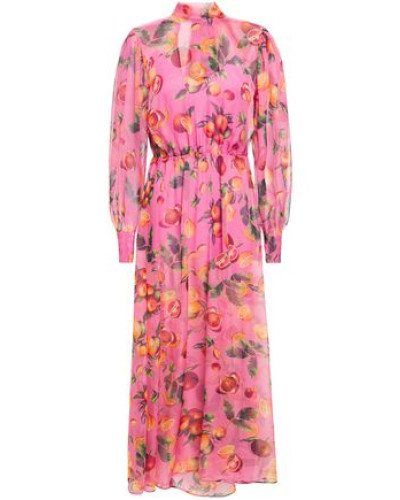 Woman Layered Floral-print Gathered Chiffon Midi Dress Pink