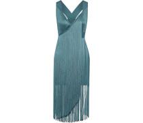 Wrap-effect Fringed Bandage Mini Dress