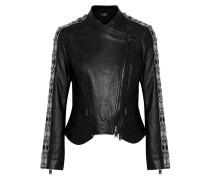 Convertible Bead-embellished Leather Jacket Schwarz