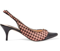 Yorick patent leather-trimmed houndstooth-printed calf hair slingback pumps
