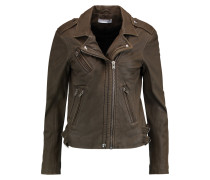 Hanhan Leather Biker Jacket Armeegrün