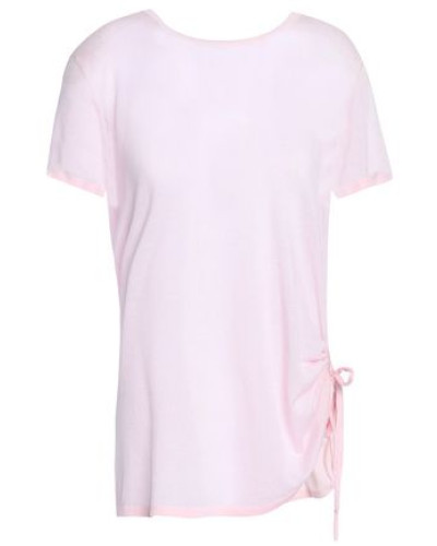 Ruched Cotton Top Pastel Pink