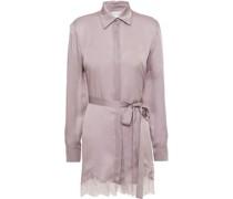 Pyjama-oberteil aus Seidensatin mit Spitzenbesatz und Gürtel