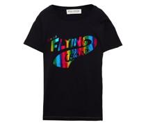 T-shirt aus Baumwoll-jersey in Metallic-optik mit Print