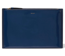 Paneled Glossed And Smooth Leather Clutch Mitternachtsblau