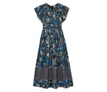 Lottie Pleated Floral-print Cotton-blend Voile Midi Dress
