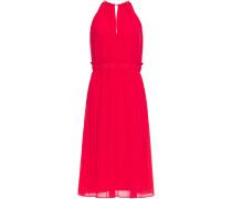 Chain-trimmed Pleated Chiffon Dress