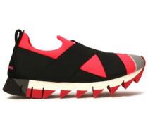Suede-trimmed neoprene slip-on sneakers