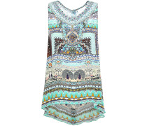 Woman The King And I Crystal-embellished Printed Silk Crepe De Chine Top Mint