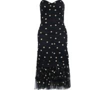 Trägerloses Kleid aus Tüll mit Pailletten und Raffungen