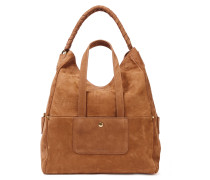 Woman Gaspard Leather-trimmed Suede Tote Light Brown