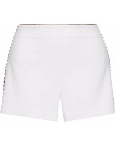 Sheeri Embellished Tulle-trimmed Crepe Shorts White