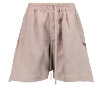 Silk Gabardine Shorts Taupe