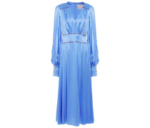 Teruko Pleated Silk-satin Midi Dress
