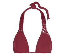 Waipahu Macramé-paneled Triangle Bikini Top Bordeaux