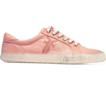 Kira Distressed Textured-leather Sneakers Antique rose