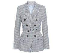 Harvey Double-breasted Houndstooth Twill Blazer