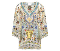 Woman Indiana Franks Crystal-embellished Printed Silk Crepe De Chine Top Off-white