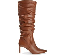 Giovanna Gathered Leather Knee Boots