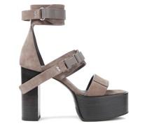 Buckled Suede Platform Sandals
