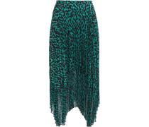 Lila Pleated Leopard-print Crepe De Chine And Chiffon Midi Skirt