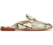Linnie Embellished Snake-effect Leather Slippers