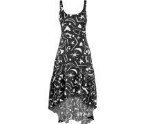 Martine Asymmetric Printed Hammered-silk Dress
