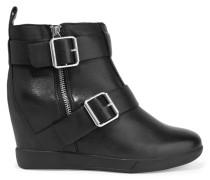 Hanna Buckled Leather Wedge Boots Schwarz
