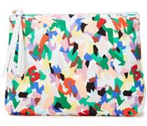 Bedruckte Pochette aus Baumwoll-canvas mit Kunstlederbesatz