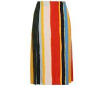 Striped Twill Midi Wrap Skirt