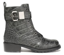 Buckled croc-effect leather ankle boots