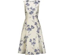 Pleated Metallic Brocade Dress Creme
